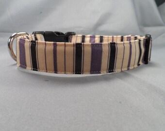 Purple Black and Tan Classic Stripe Dog Collar