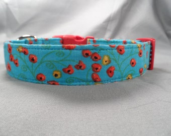 Blue Yellow and Red Poppy Flower Dog Collar