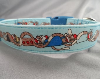 Blue Stripe Sock Monkey Dog Collar