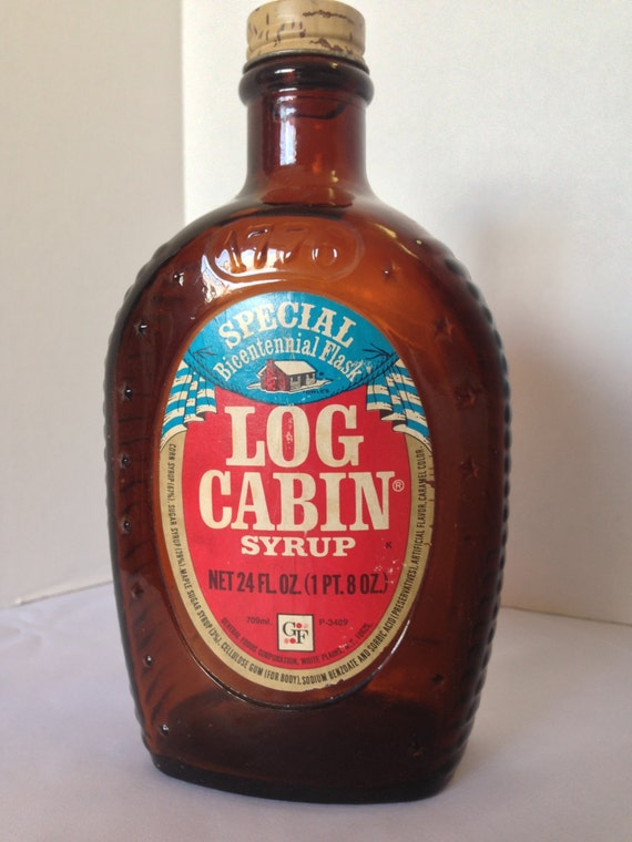 Bicentennial log cabin syrup bottle amber s