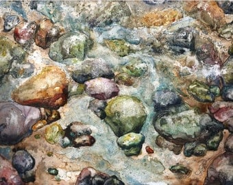 Wind River and Rocks (Watercolor on YUPO)