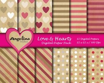 12 Digital Retro Valentine Love Scrapbook Paper Pack for invites, card making, digital scrapbooking, wallpapers