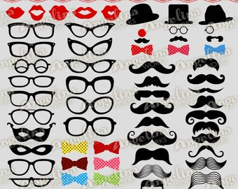 Mustache Mania Digital Clip Art - Personal and Commercial Use