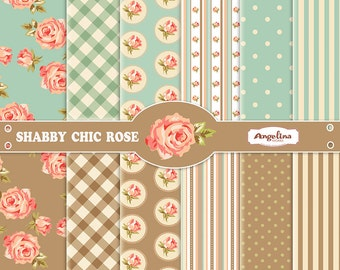 12 Shabby Chic Peach Roses. Blue and Brown Digital Scrapbook Papers