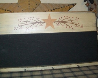BERRY VINE STAR Chalkboard Primitive Sign