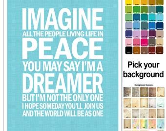 John Lennon Song Lyric Print - Imagine - subway style - custom colors - lyrics poster - music poster