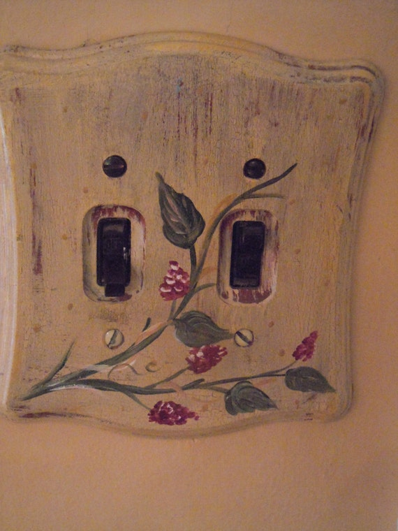 Decorative Hand Painted Wooden Light Switch Plates