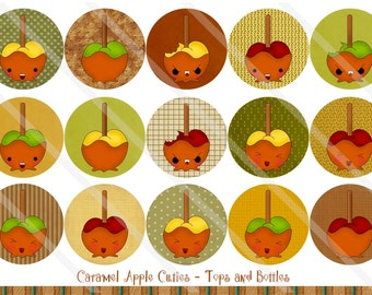 Caramel Apple Cuties 1 Inch Circles Collage Sheet for Bottle Caps, Hair Bows, Scrapbooks, Crafts, Jewelry & More
