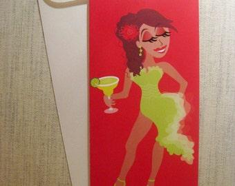 Margarita Cocktail Coquette Blank Greeting Card