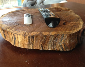 Large rustic wood slab turn table lazy susan