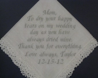 Personalized Wedding Hankie to Mom from her daughter