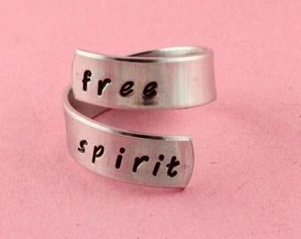 SALE - Free Spirit Wrap Ring - Adjustable Twist Aluminum Ring - Handstamped Ring