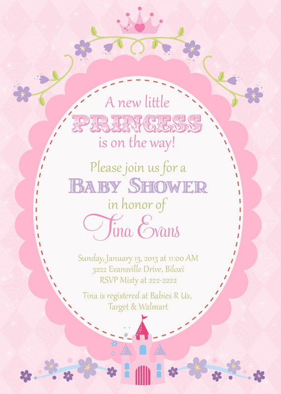 princess baby shower invitation pretty pink with oval frame with