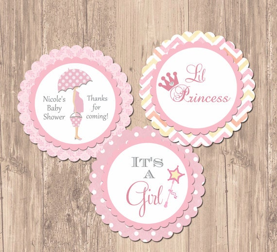Princess chevron baby shower party rounds cupcake toppers for Baby shower cupcake picks decoration