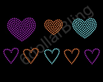 "Rhinestone Iron On Transfer ""Heart Collection (Retro)"" Love Bling"