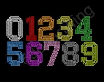 "Rhinestone Iron-On Transfer Custom Medium 2.5"" tall Number, You Choose # and Colors"