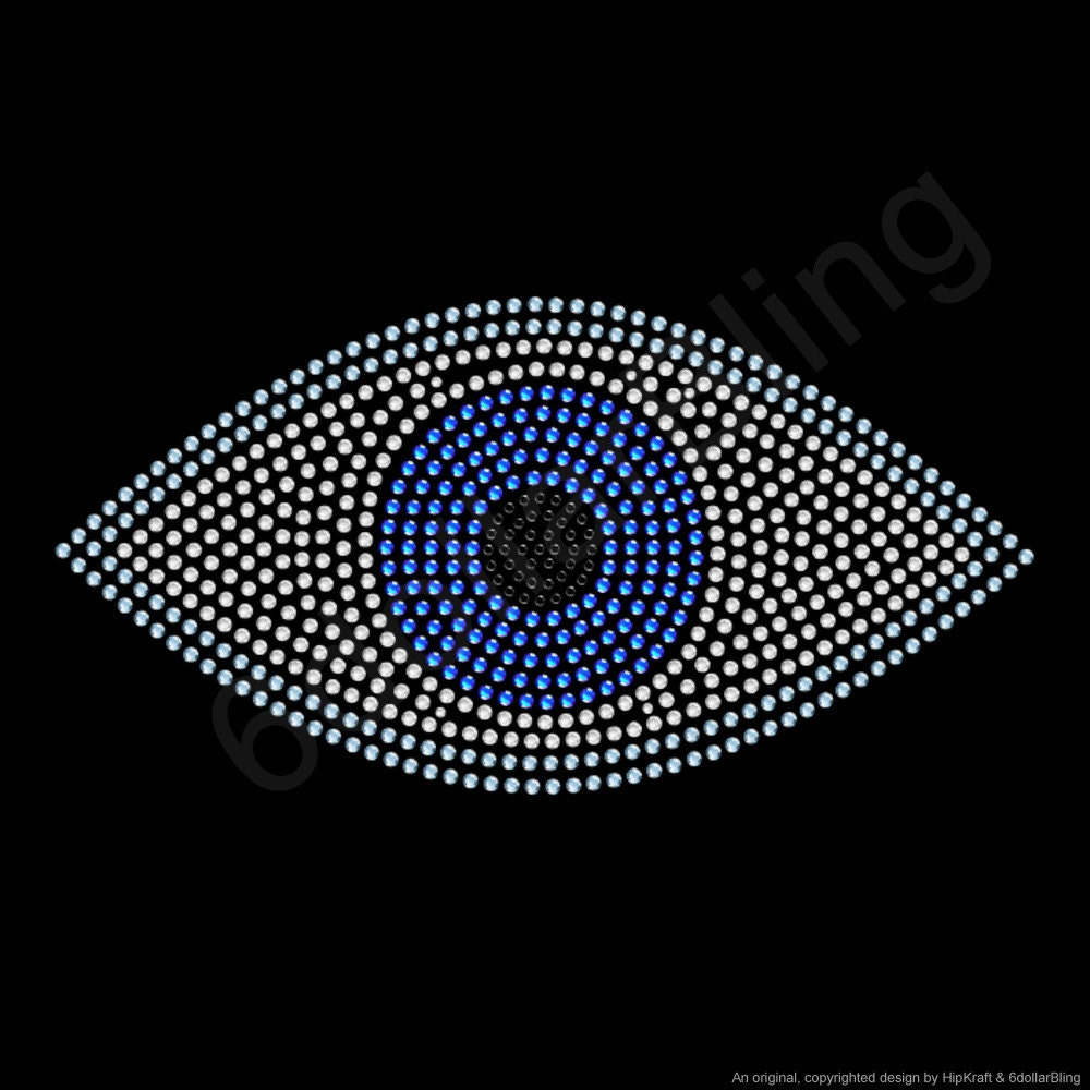 Evil Eye Rhinestone Iron-on Crystal Bling Transfer Applique