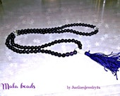 Mala Bead Necklace 108 Amethyst bead, 3 Crystal spacer beads w Head bead & Tassel