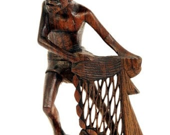 Hand Carved Wooden Fisherman from Bali