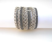 2 Shades of Gray Suede cord, A Gray Cotton Cord Macrame and A Pea Nickel Chain - 3X Wrap Bracelet - Annikaloveforwraps