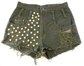 Army Green High Waisted Studded and Distressed Shorts