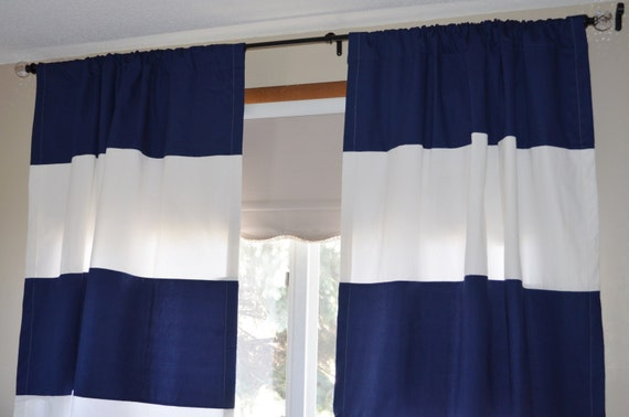 Vinyl Bathroom Window Curtains Navy and White Striped Tablecl