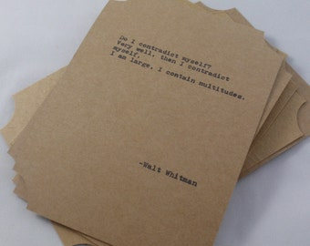 The WALT WHITMAN COLLECTION--Quote Cards-- Five Hand-Made Art Typography Letterpress Cards