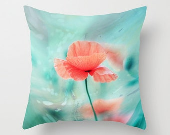 """Throw Pillow Cover - Poppy Dream  - 16""""x16"""" inch Photography - 100% SpunPolyester - Flower Pastel Turquoise Blue Light Nature abstract"""