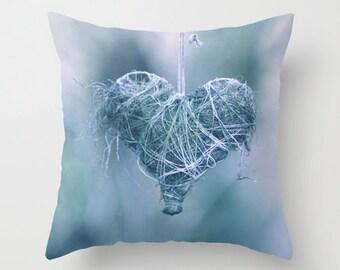"Throw Pillow Cover - Blue Heart  - 16""x16"" inch - Photography - 100% Spun Polyester - romantic - dreamy blue/green"