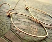 Gold Leaf Oval Hoop Earrings