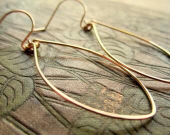 Gold or Silver Leaf Oval Hoop Earrings