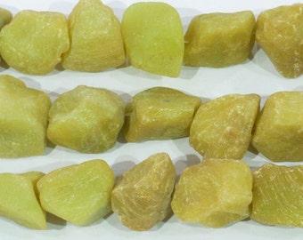 20-30mm Nugget Raw Butter Jade Semi Precious Gemstone 15''L 38cm Loose Beads 6323