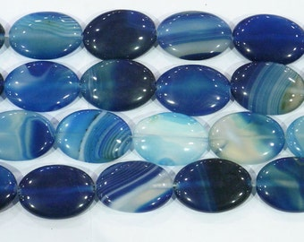 Agate Bead Natural Genuine 15x20mm Oval Banded Blue 6375 15''L Semiprecious Gemstone Bead Wholesale Beads Supply