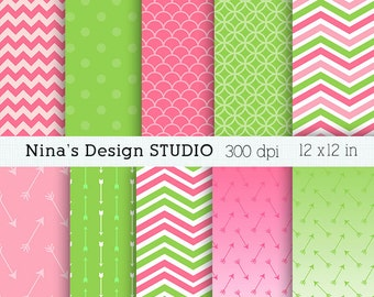 50% SALE INSTANT DOWNLOADHot Pink and Green digital paper pack Personal and Commercial Use