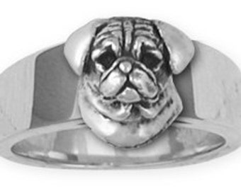 Sterling Silver Pug Dog Ring Jewelry  PG33-R