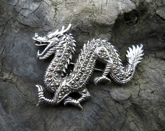 Vintage Sterling Silver and Marcasite Chinese Dragon Pin Brooch -destash