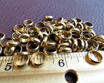 8mm Solid Brass Ring Beads (100 pieces)