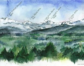 The Rugged Horizon of the Cascade Range  //  ILLUSTRATION // 10x23