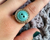 Silver & Turquoise Button Ring.