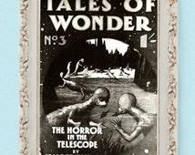 "Vintage TALES OF WONDER Sci-fi Poster Print Book Illustration 8.25""x11"""