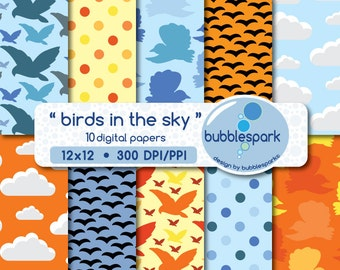 birds in the sky - digital paper pack with  birds flying in the sky, clouds and matching polka dots