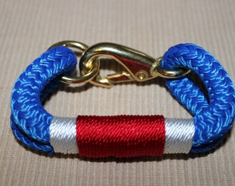 Customized Maine Rope Bracelet - Blue Rope - White / Red -Hand Made to Order - USA - Patriotic