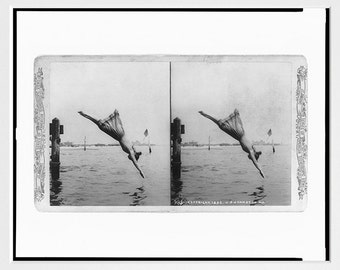 Girl Diving off a Pier - Diving Art - Swimming Poster - 19th century - New York City - Stereoscope - Photography - Vintage Photo - Diver