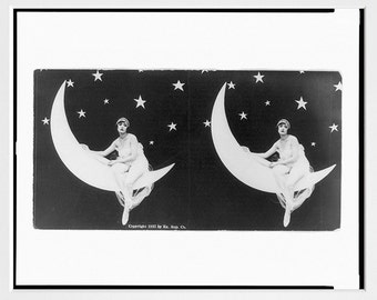 Stereoscope Art - Girl on the Moon - Early American - Black and White - Cabaret - Art Print