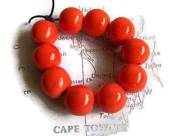 Beads made in South Africa, Ceramic Beads, Clay beads, Juicy Orange Beads, Round Beads, Handmade Beads, Ceramic Beads, African Beads