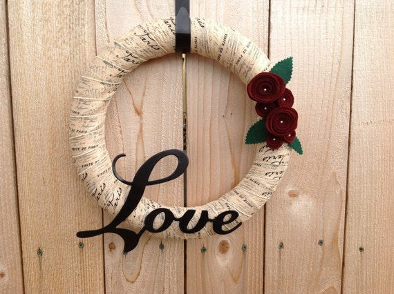 Love Paris Inspired wreath door wreath 14 inch ribbon wrapped wreath felt flowers metal love sign