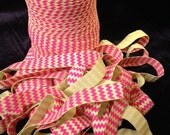 Neon Pink and Yellow Chevron Fold Over Elastic - 5 yards of 5/8 inch