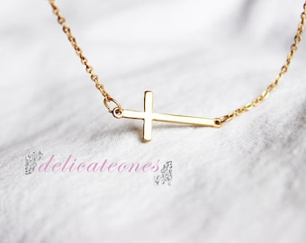 Miniature Gold Cross Necklace