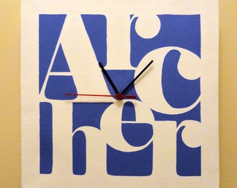 Personalized Canvas Word Art Clock - Customized Names (Small)