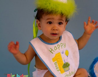 Birthday Boy Cake Smash set in lime and turquoise Personalized for your child- includes hat, boxer and bib (1167)